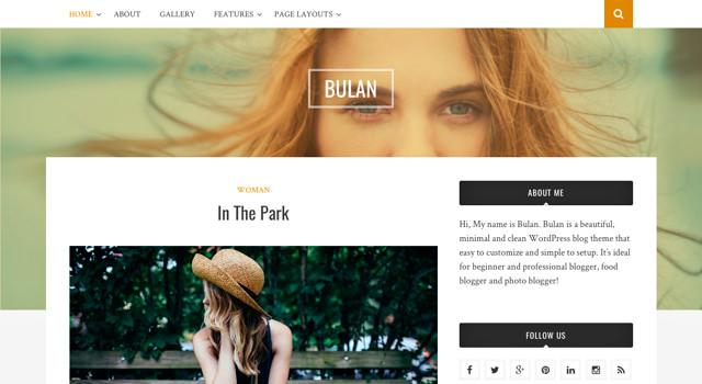 Bulan: Clean & Minimal Blogging WordPress Theme