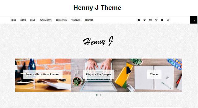 Henny J: Clean Blogging WordPress Theme