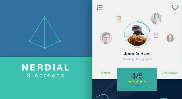 Nerdial: Flat Mobile App Sketch & PSD UI