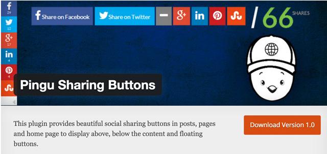 Free WordPress Plugins: Pingu Sharing Buttons