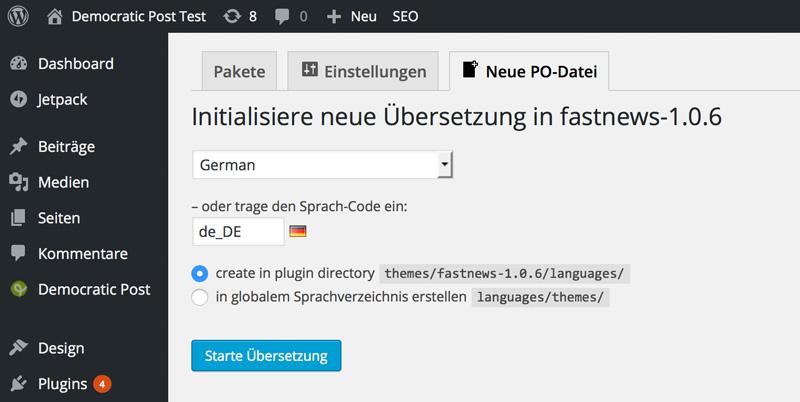 Loco Translate: Start the Translation
