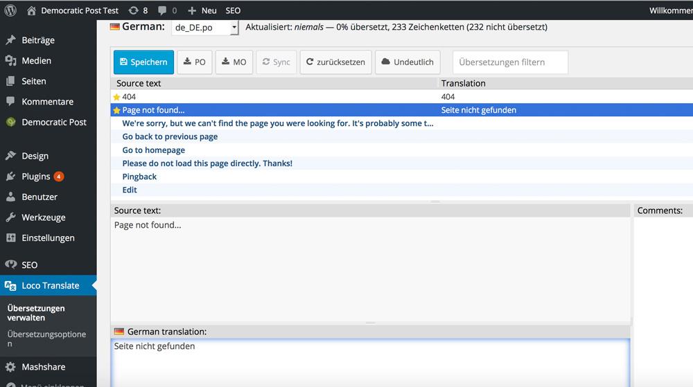 Loco Translate: Translation Screen