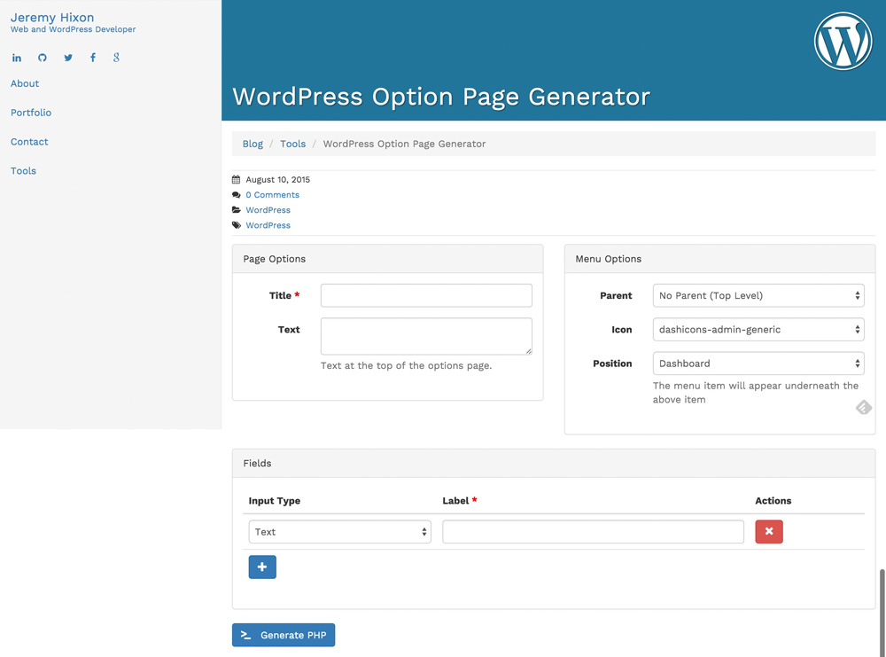 WordPress-Option-Page-Generator