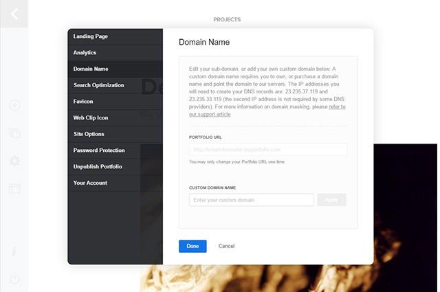 adobe-portfolio_settings