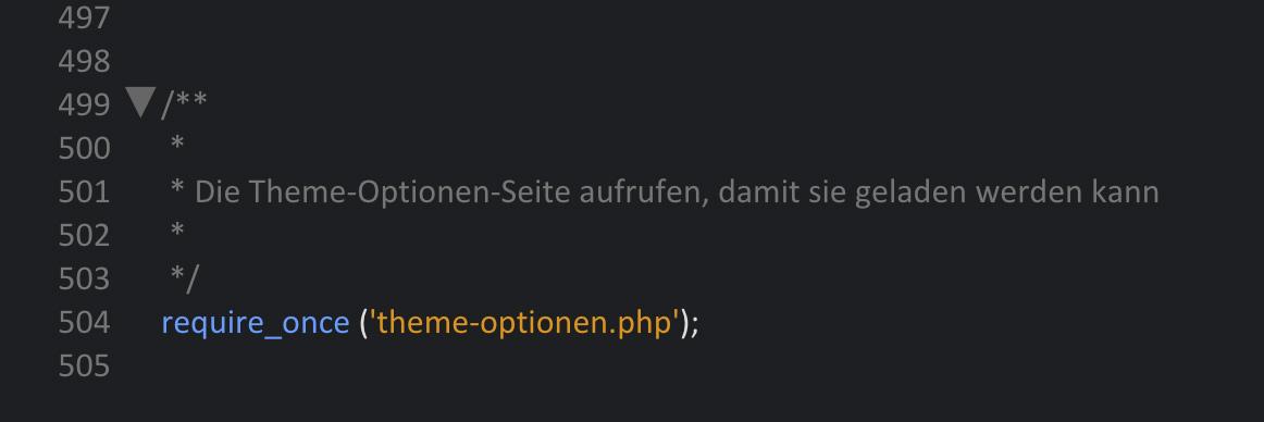 Die Erweiterung in der functions.php Datei