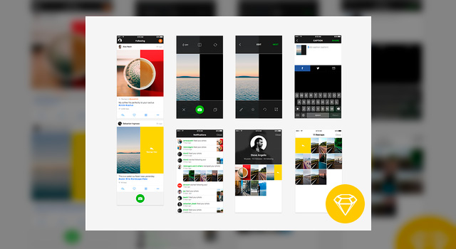 Resnap iOS Application Sketch Mobile UI Kit
