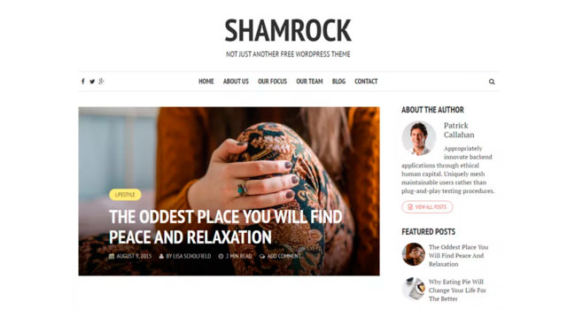 Shamrock: Single Column Blogging WordPress Theme