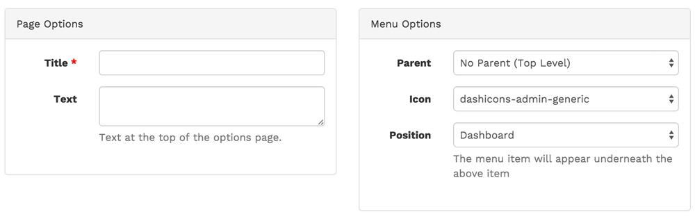 Titel und Position der Optionen-Seite festlegen