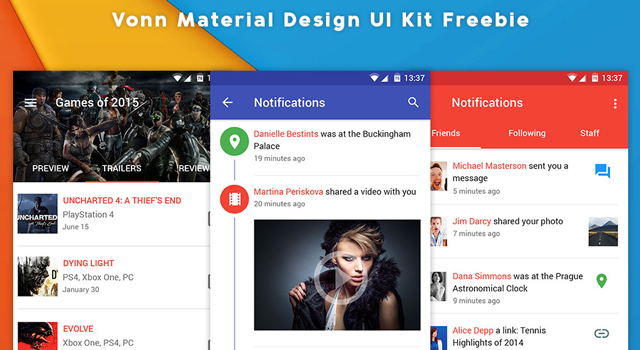 Vonn Material Design UI Kit Freebie