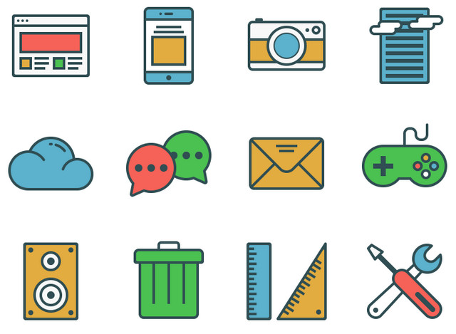 bright flat icon set