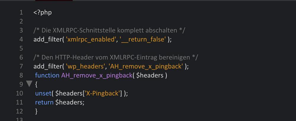 Die XMLRPC-Schnittstelle abschalten und den HTTP-Header entfernen