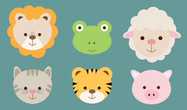 flat animals icons