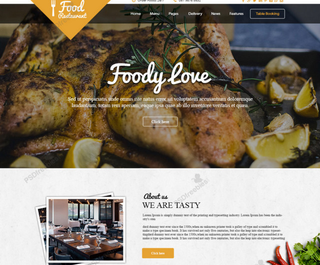 Best of 2015 100 free psd website templates noupe food template pronofoot35fo Choice Image