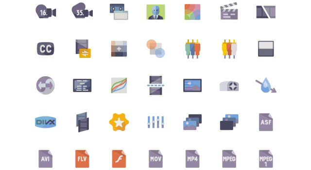 Great 5K Video Production Flat Icons Set