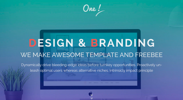 One: One Page Gradient HTML Template