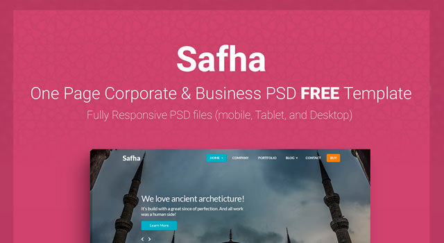 Safha: One Page Corporate PSD Web Template