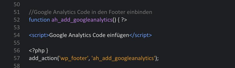 Analytics Code einbinden