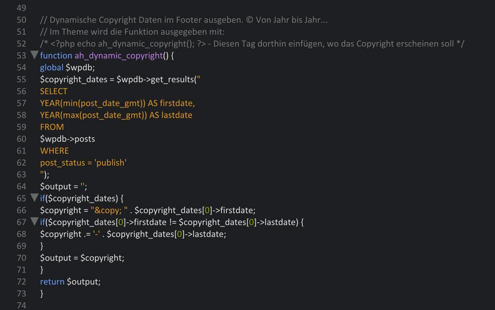 Dynamisches Copyright