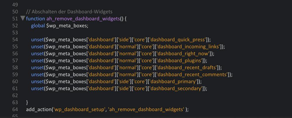Dashboard-Widgets abschalten
