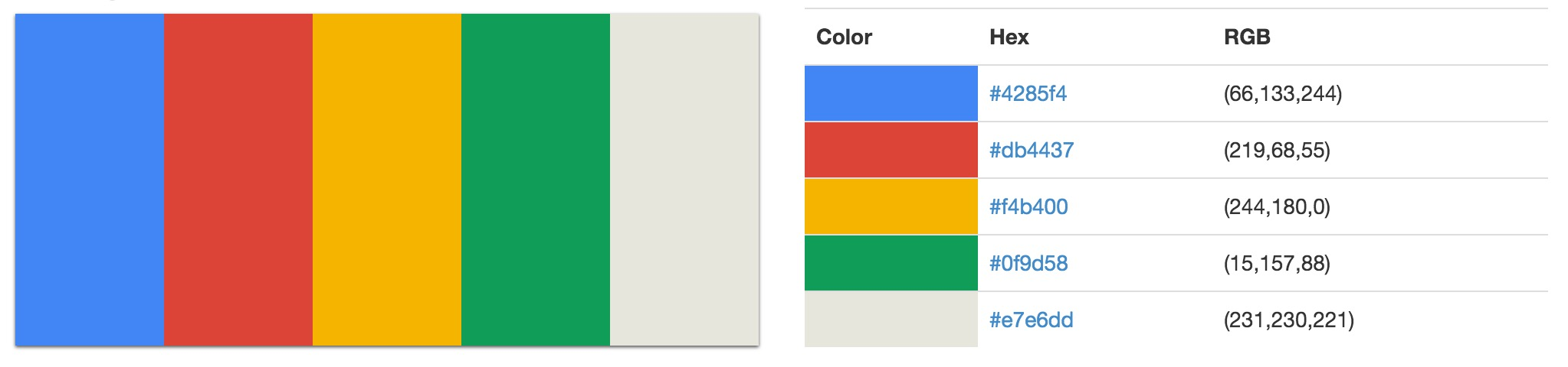 Facebook Google Web design color schemes