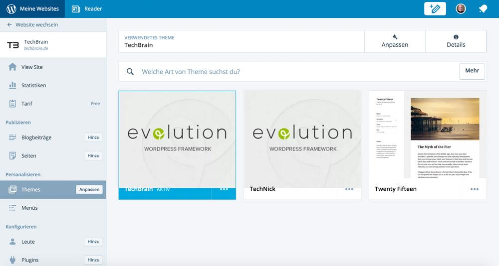 Themes verwalten in der WordPress-App