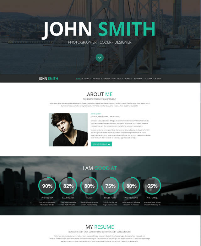 Get Hired CV And Personal Portfolio Templates Noupe - Personal landing page template