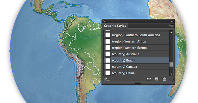 Rotate the globe by clicking on the graphic style of your choice