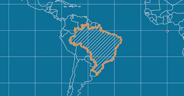 Create a clipping mask with the path of the country Brazil