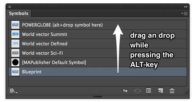 Make our edited symbol 'Blueprint' active by dropping it onto the main symbol