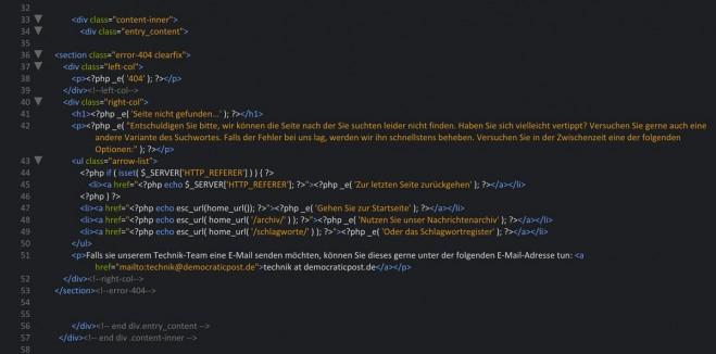 Code für eine optimale 404-Fehlerseite
