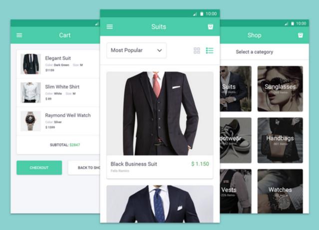 ecommerce mobile screens