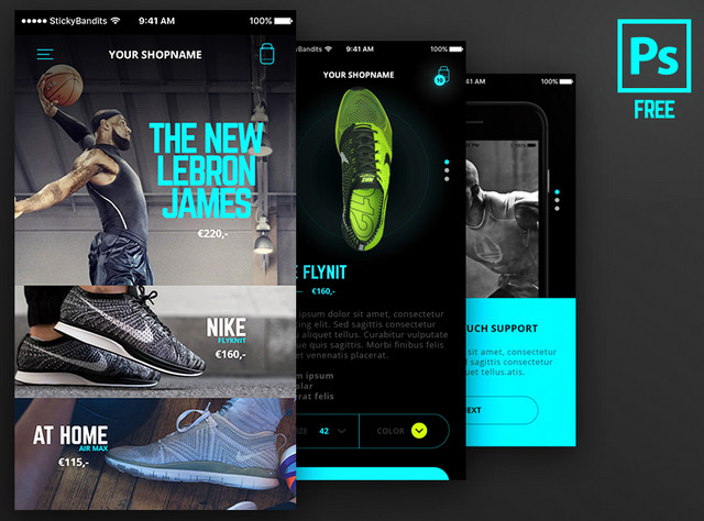 mobile ui with neon touches