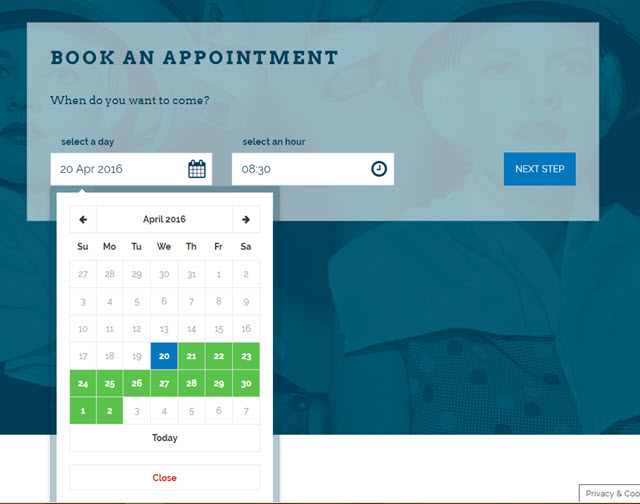 Salon Booking Step 1: Choose a date and time