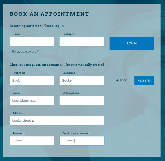 Salon Booking Step 4: Confirm your data