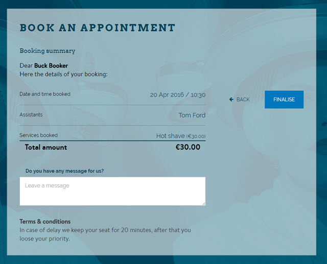Salon Booking Step 5: Confirm your booking
