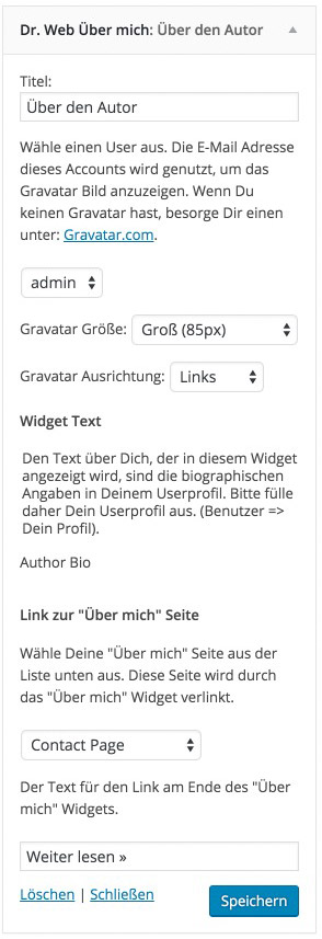 About Widget Einstellungen