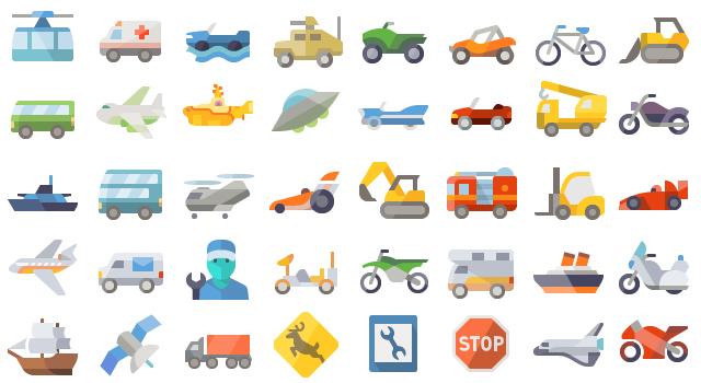 Amazing Transportation Flat Icons Set