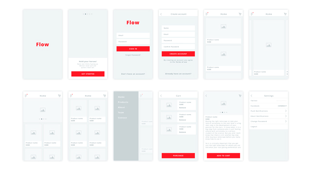 Flow: Clean iOS Wireframe Kit