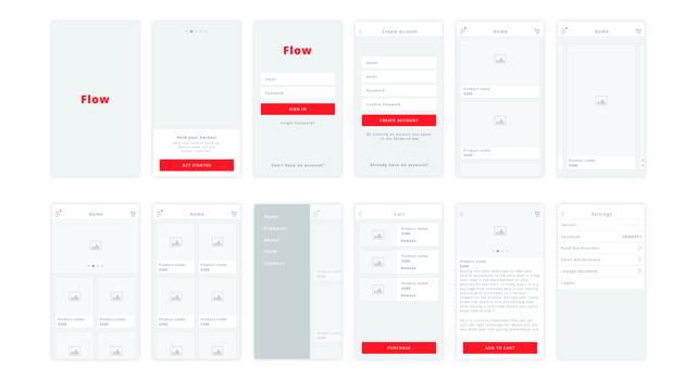Flow: Clean iOS Wireframe Kit