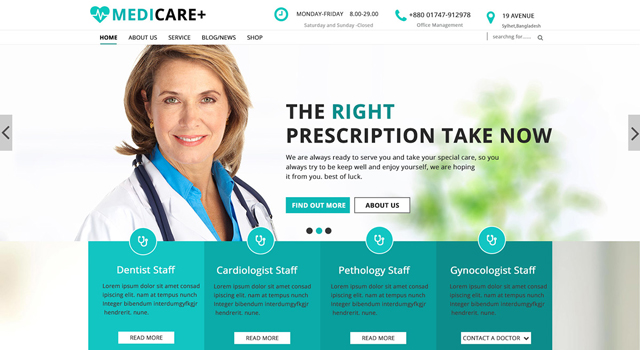 Medicare: Medical Web PSD Template