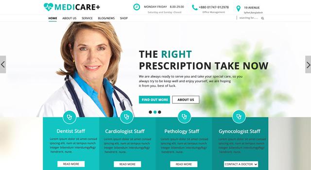 Medicare: Medical Web PSD Template