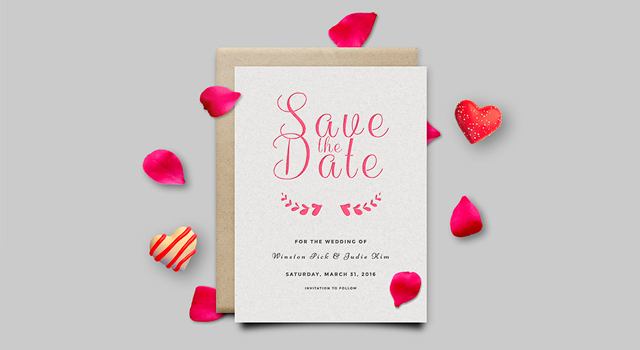 Save The Date: Invitation Card PSD Mockup