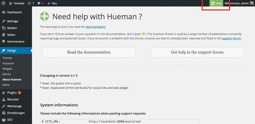 Der Help-Button und die Seite, auf die er leitet. Hier findet der User dann den Link zur Doku und dem Forum.