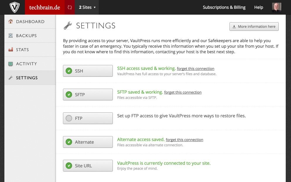 The Access Data For Your Server / Your Webhosting Package, Deposited in VaultPress