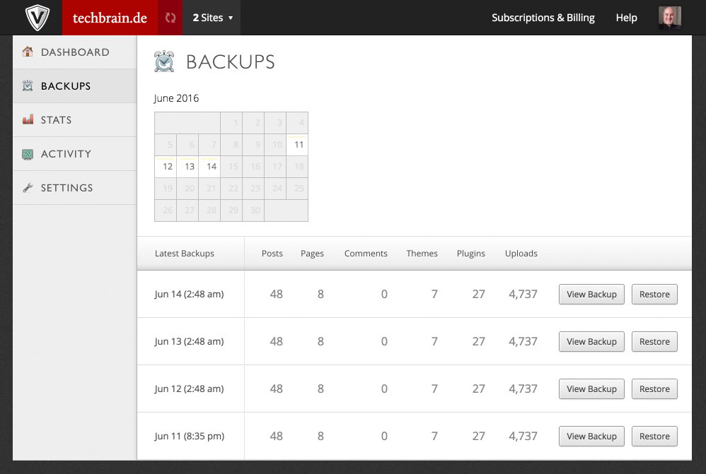 Viewing the Backups Created by VaultPress.
