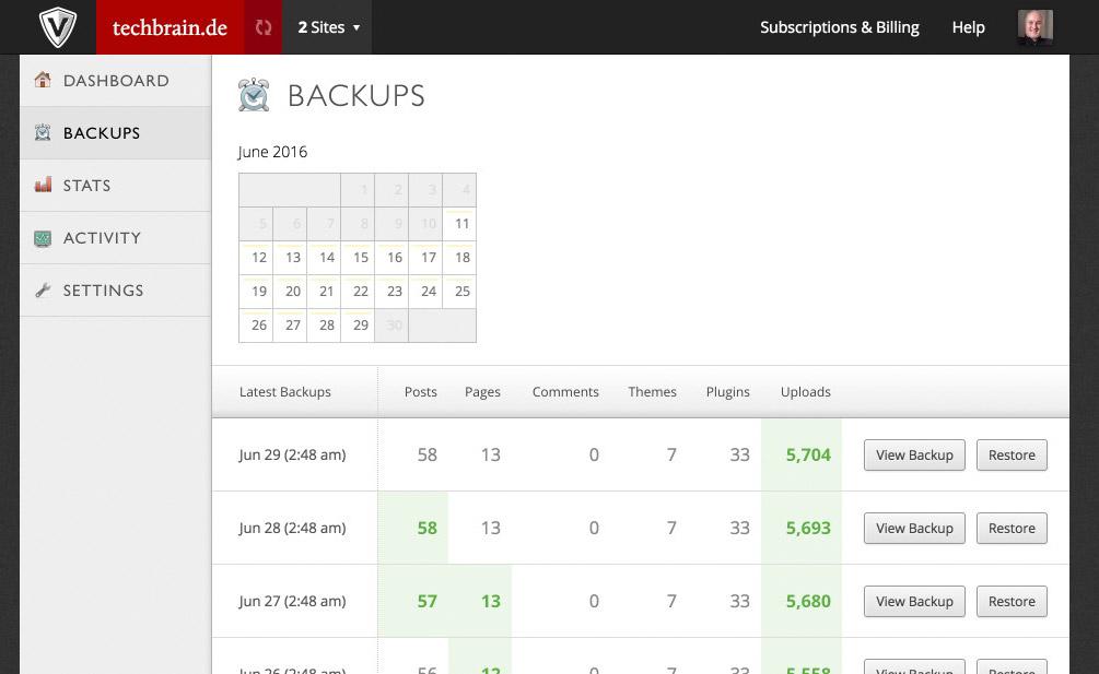 Restoring a Backup Using VaultPress. One Click on