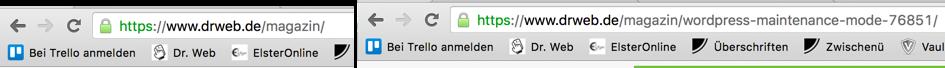 https auf Startseite und einzelnem Artikel in grün.