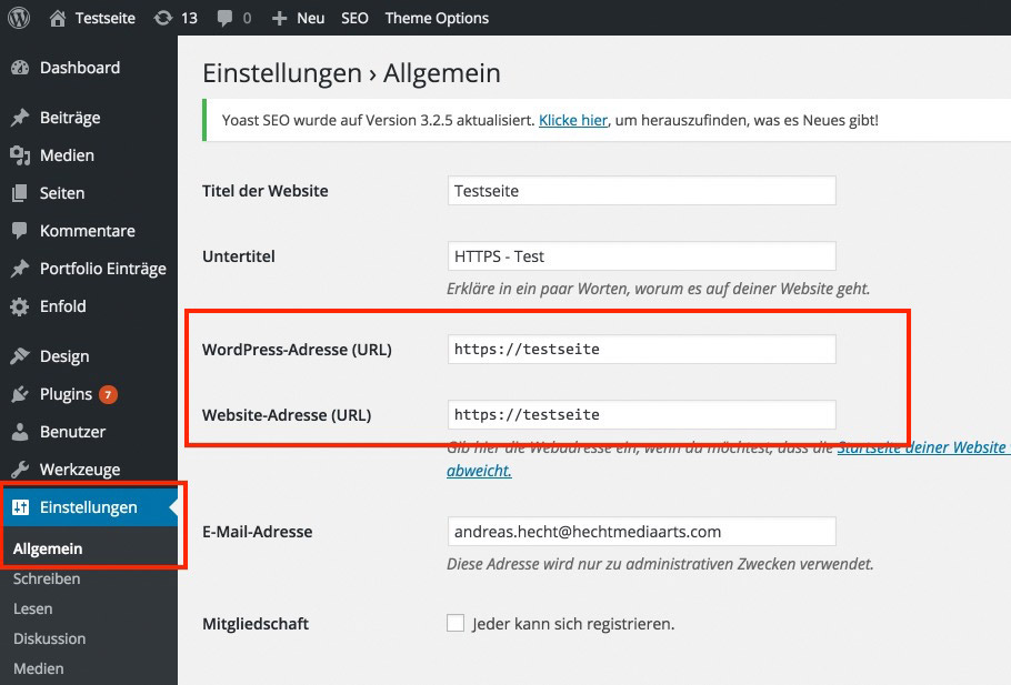 switching the WordPress Admin Area to HTTPS