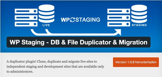 Das Wp Staging Plugin für WordPress