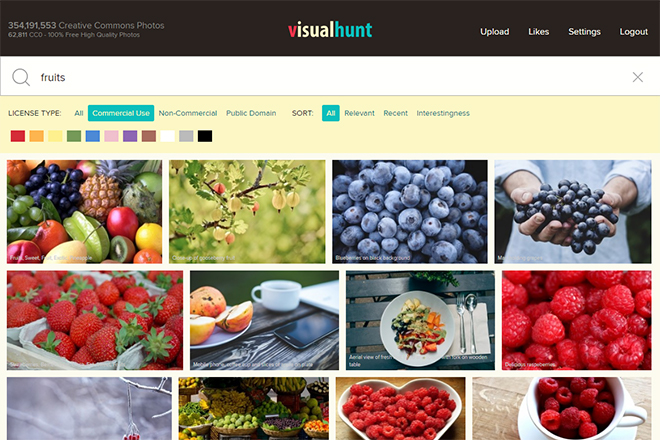 Search Results in Visual Hunt